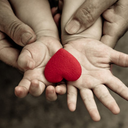 43771768 - old hands holding young hand of a baby with red heart