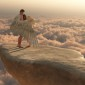 27549184 - male angel protectively envelops female companion in his wings on a promontory high above the clouds