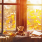 63077178 - fall. cozy window with autumn leaves, a book, a mug of tea