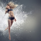 46949481 - young woman dancing inside cloud of dust